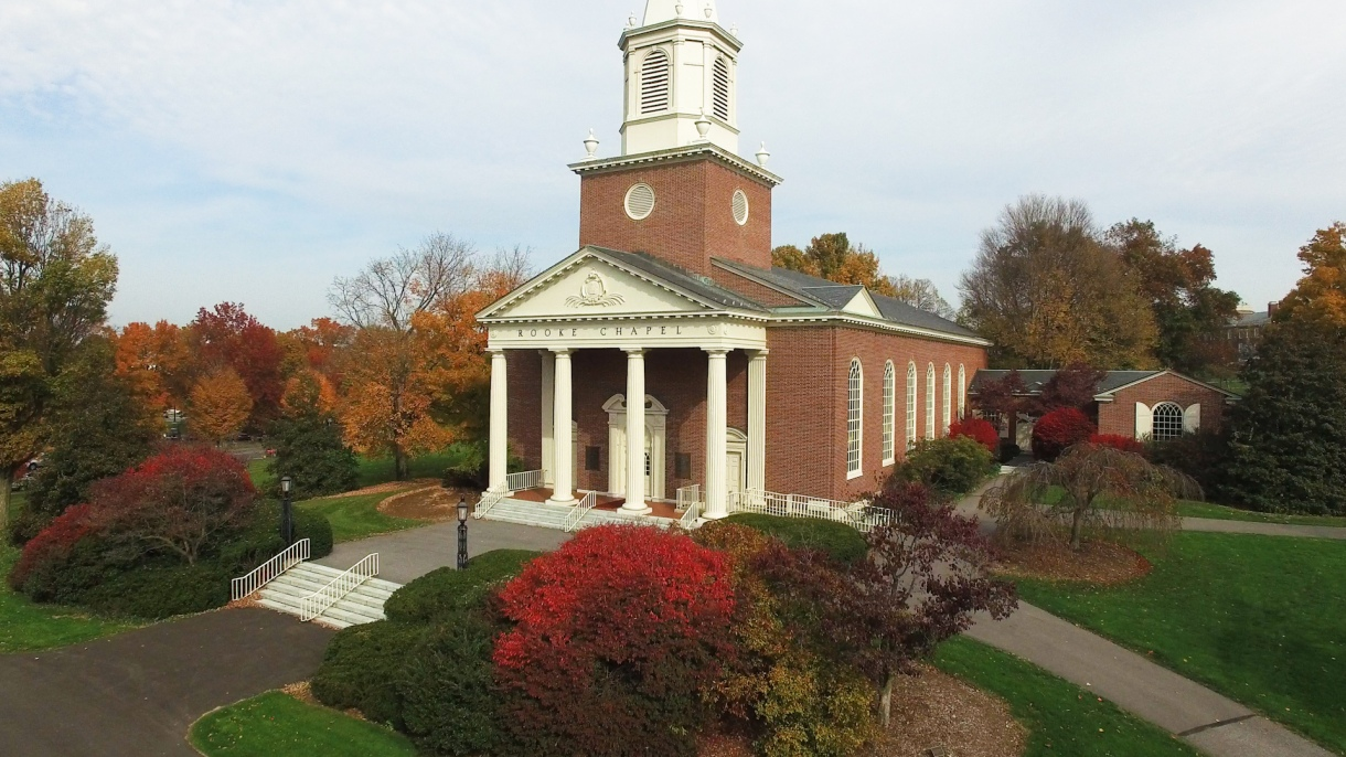 Drone photo of Rooke Chapel on campus