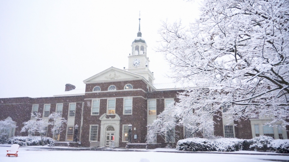Bertrand Library in the snow