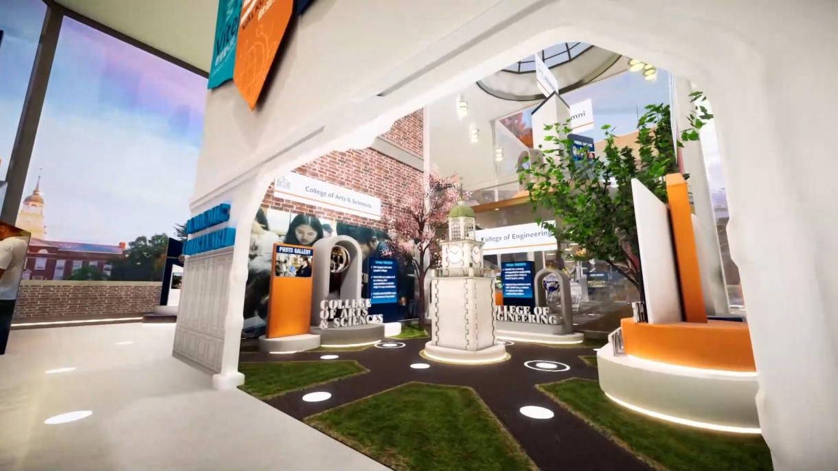 An image of a virtual courtyard inside of the Bucknell Virtual Experience