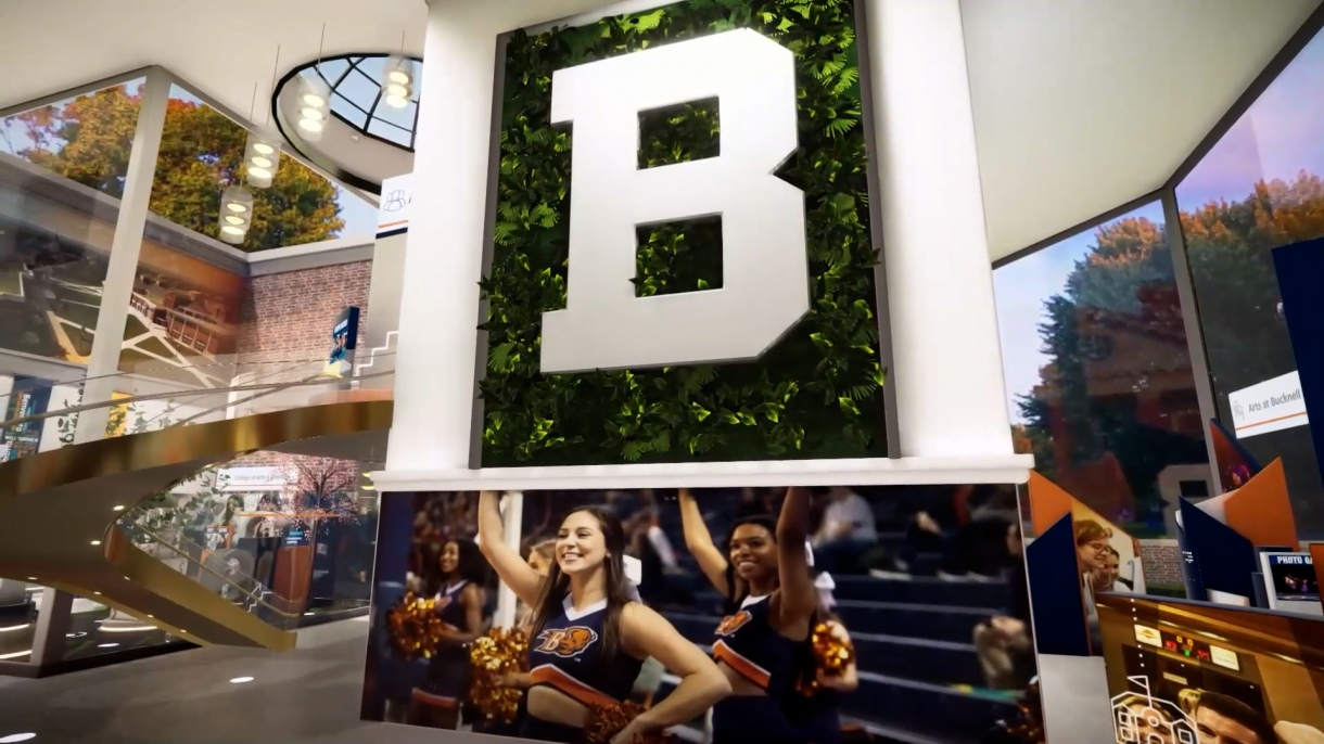 A wall of photos inside the Bucknell Virtual Experience