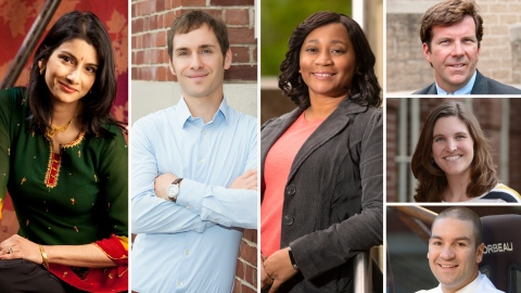 Photos of faculty who've received tenure or promotion: Anjalee Despande Hutchinson, Mike Krout, Terri Norton, Eric Martin, Ashli Baker, Craig Beal