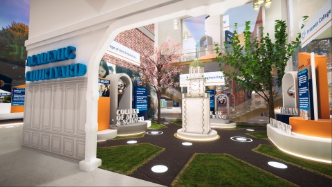The central courtyard inside the Bucknell Virtual Experience