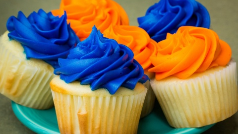 Blue and orange cupcakes