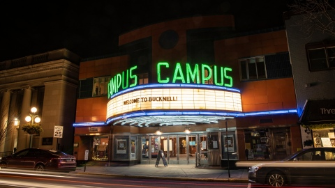 "Campus Theatre marquee reads, ""Welcome to Bucknell!"""