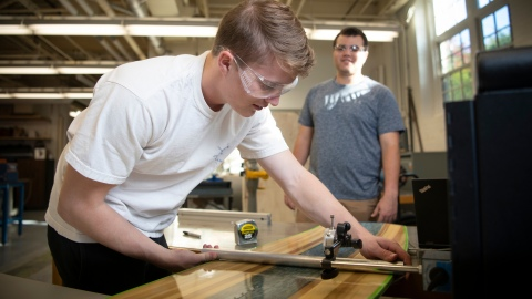 Students working on wakeboard prototype
