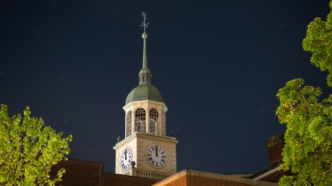 Bertrand Library clock tower at night