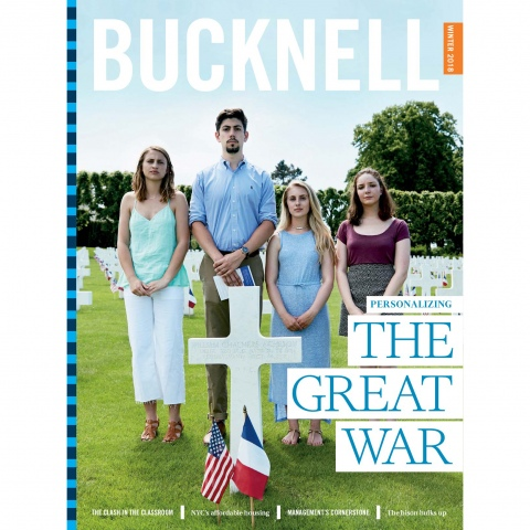 Bucknell Magazine Winter 2018 Cover of students at WW1 Grave