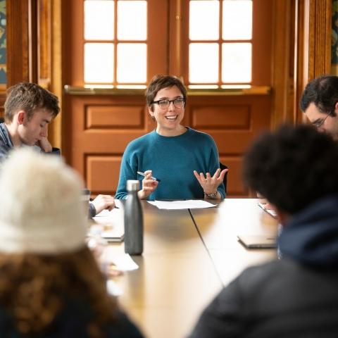 Bucknell University Professor and students in Poetry Workshop