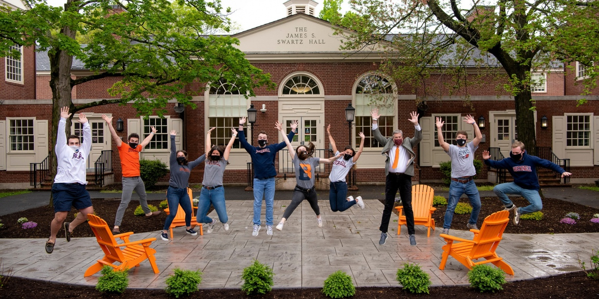 Students jump at new Swartz patio.