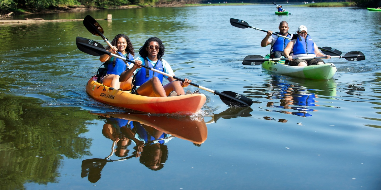 Students kayaking on the Susquehanna River
