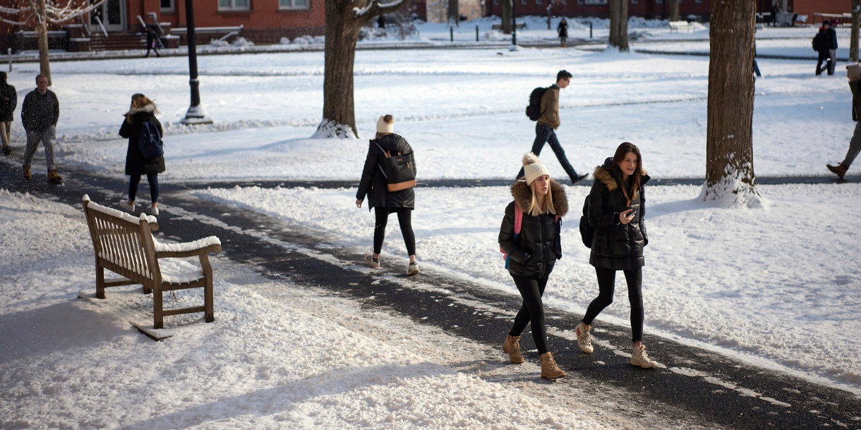 Students walk to class on winter day