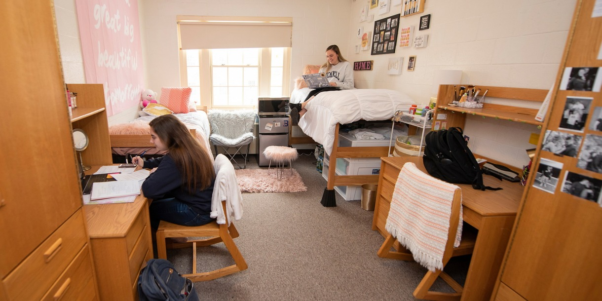 Two students studying in their decorated dorm room