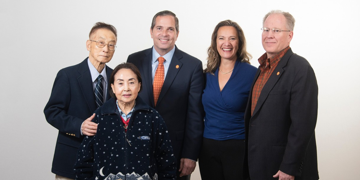From left, Jai Kim, Yung Kim, Bill Krokowski '84, Christina Ertel P'10 and Dan Ertel '84, P'10