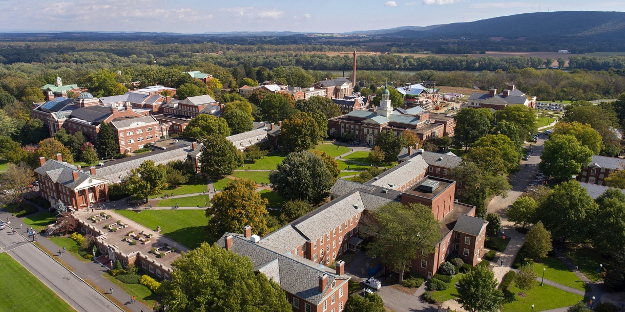 Aerial of campus around Malesardi Quad