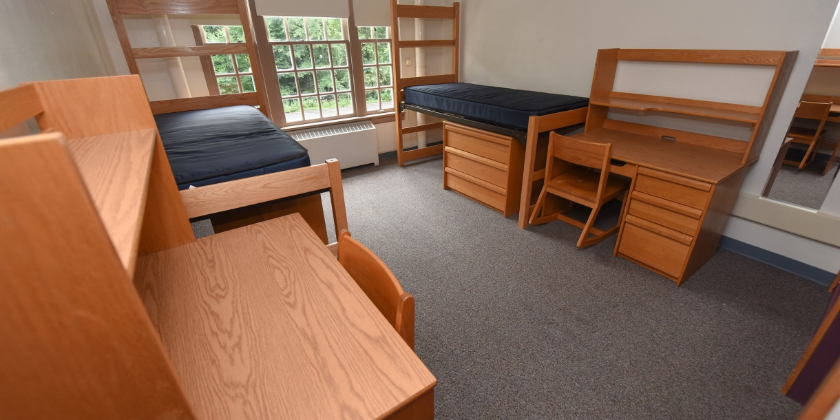 A vacant two student dorm room