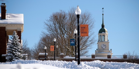 View of Bertrand Library clocktower in winter