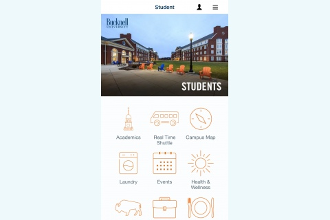 Screenshot of the homepage within the Bucknell app