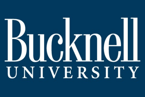 The white Bucknell Wordmark on a blue background