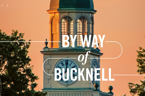 Bertrrand Library at sunset with By Way of Bucknell text overlay