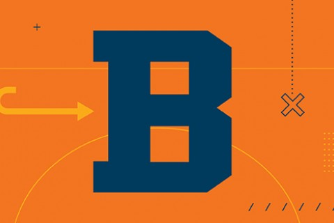 A blue Bucknell B on an orange background