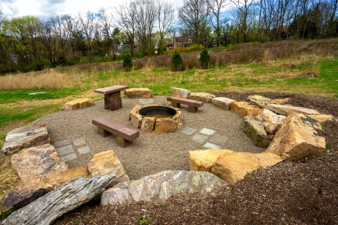 Bucknell's new fire pit, made from recycled material from past building projects.