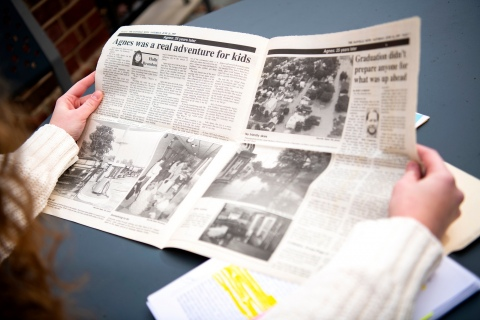 Newspaper featuring articles on Hurricane Agnes