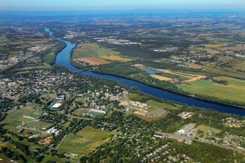 Aerial of the Susquehanna River and Lewisburg