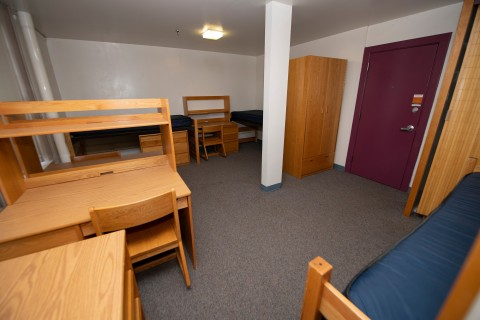 Residence hall triple bedroom