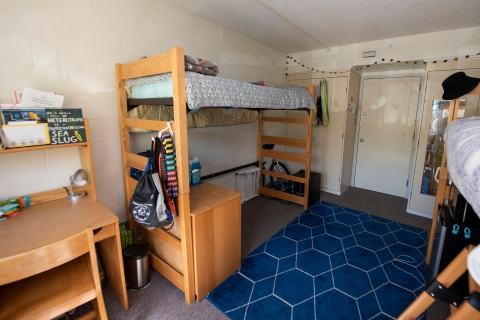A furnished two bed dorm room
