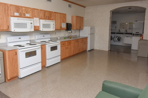 Residence hall kitchen and laundry