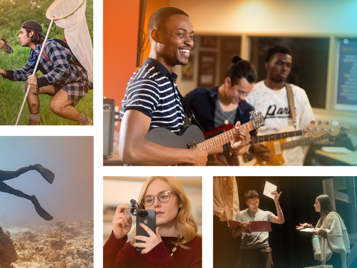 Collage of students: one scuba diving, a student band, a student in a European city, a student with a butterfly net, a student with a device attached to a cell phone, and two students rehearsing a play