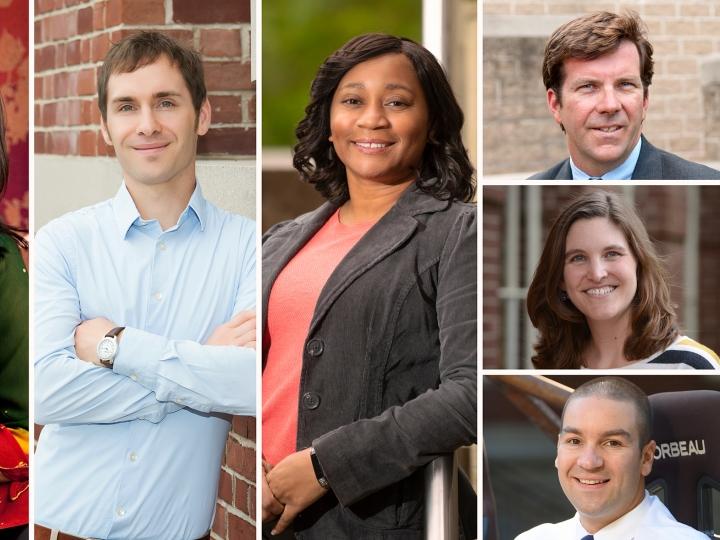 Photos of faculty who've received tenure or promotion: Anjalee Despande Hutchinson, Mike Krout, Terri Norton, Eric Martin, Ashli Baker, Craig Beal