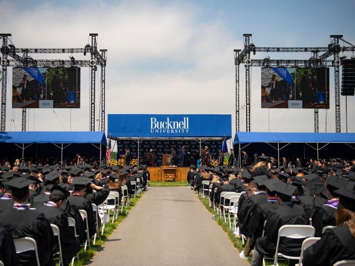 Wide shot of Class of 2019 Commencement on the Quad