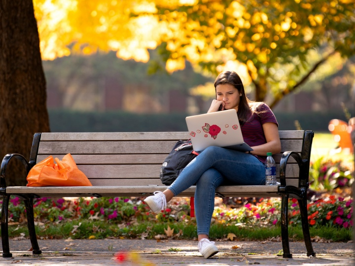 Bucknell Student on Campus in Fall