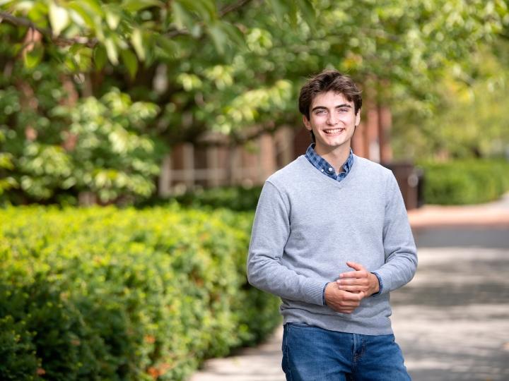 Portrait of Ryan Bremer '22 on Bucknell's campus
