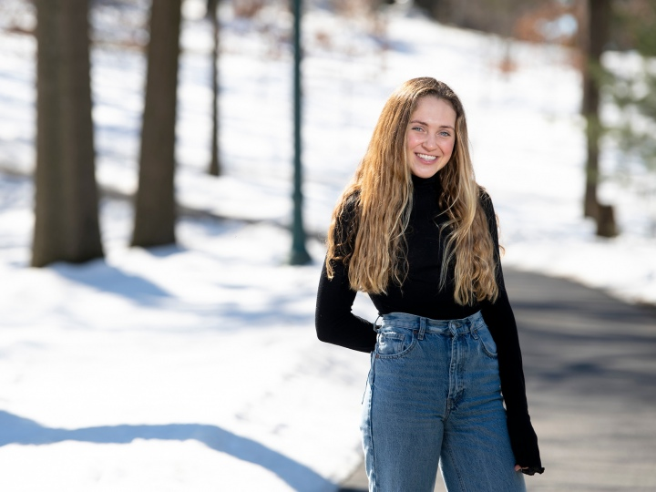 Colleen Hull stands outside in winter.