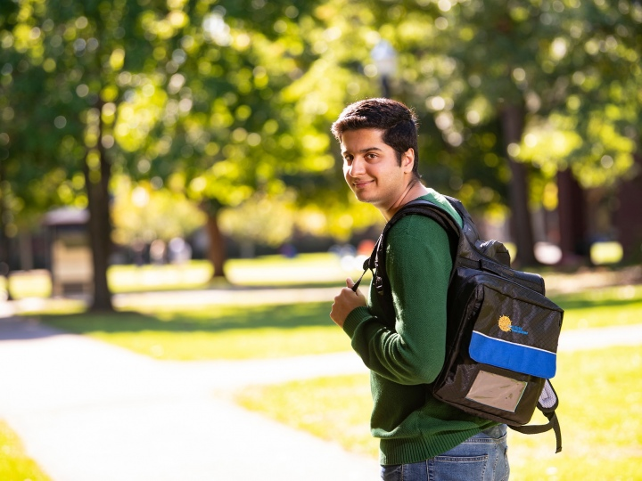 Shehryar Asif with his backpack.