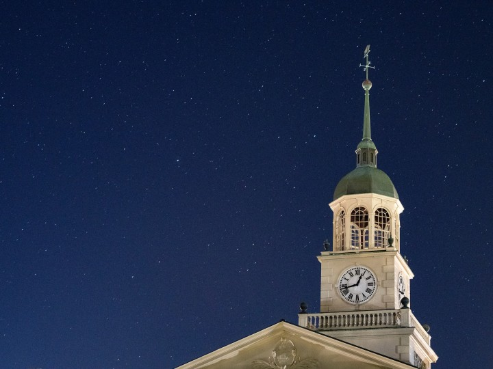 Bertrand Library with stars behind it at night