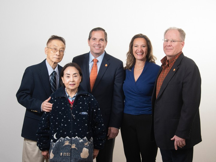From left, Jai Kim, Yung Kim, Bill Krokowski '84, Christina Ertel P'10 and Dan Ertel '84, P'10