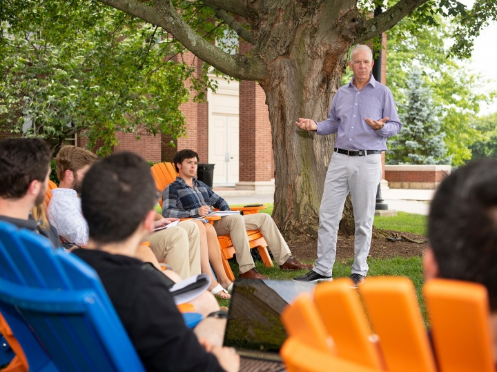 Professor Neil Boyd teaches a class to students on Malesardi Quad