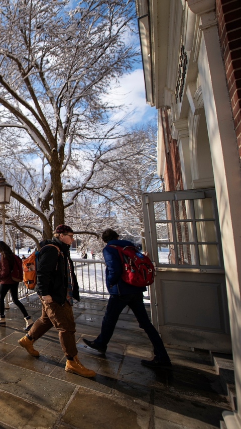 Students walking to class on snowy day