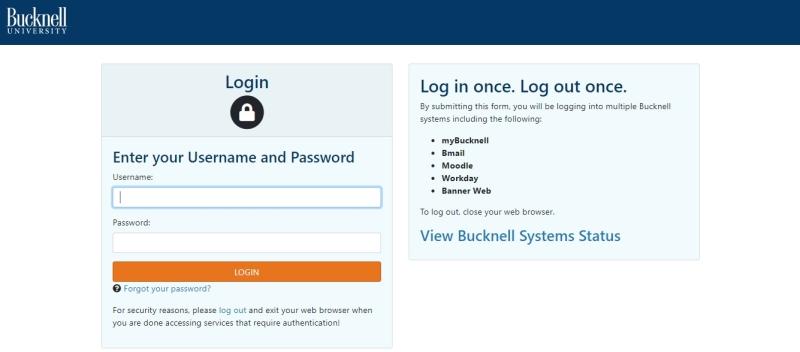 Screenshot of the myBucknell login screen
