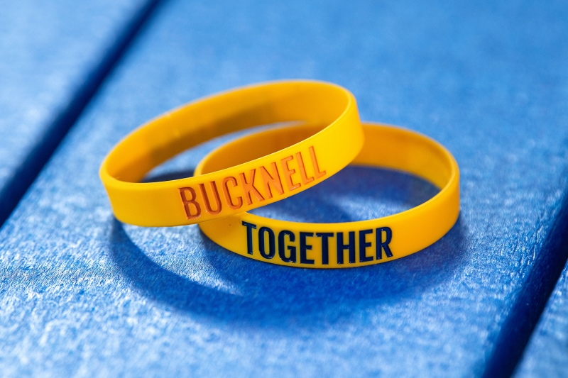 Two Bucknell Together wristbands stacked