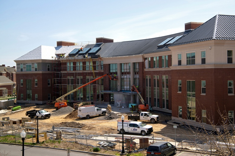 Construction crews complete exterior work on Holmes Hall