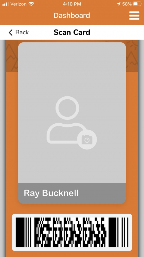 Screenshot of BUID Card section of the GET mobile app