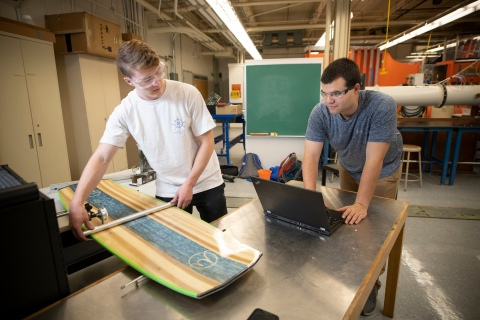 Students creating a wakeboard