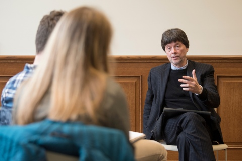 Ken Burns with students