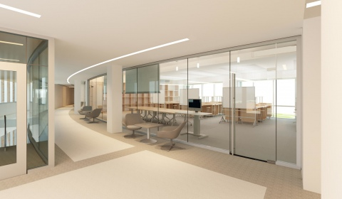 Rendering of the MIDE hallway in the Management/Art & Art History Building