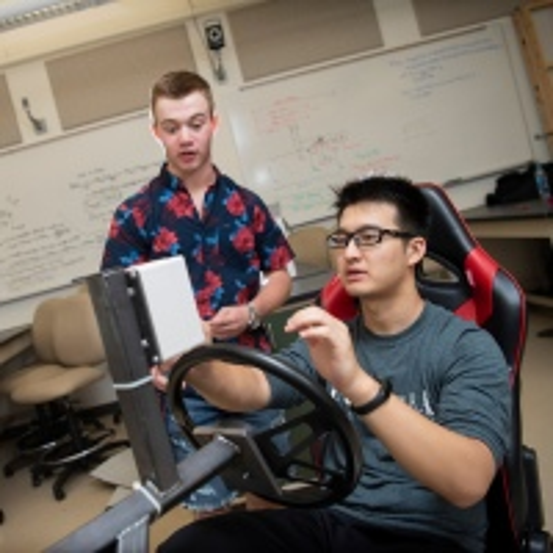 Students with brake simulator