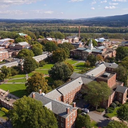 Aerial of campus around Malesardi Quad